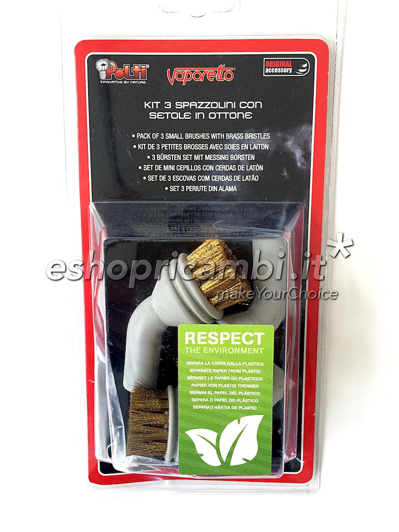 Cs, CAREservice PAEU0212-1 POLTI | Kit 3 spazzolini con setole in ottone [PAEU0212] Polti Pulizia  PAEU0212